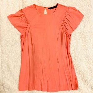 ZARA. Coral women's blouse fly sleeve. Size S